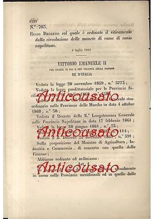 REGIO DECRETO RITIRAMENTO CIRCOLAZIONE MONETE DI RAME DI CONIO NAPOLITANO - 1862