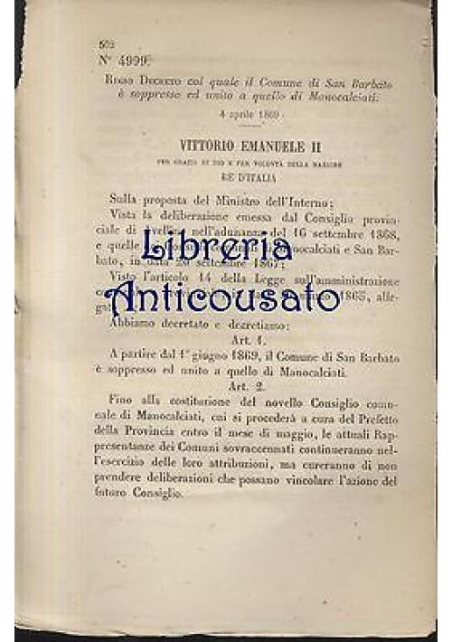 REGIO DECRETO SAN BARBATO SOPPRESSO 1869 ORIGINALE UNITO MANOCALCIATI avellino