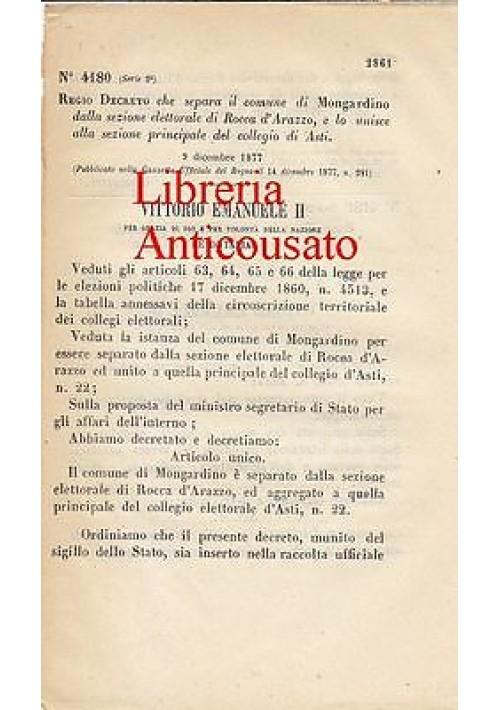 REGIO DECRETO SEPARAZIONE SEZIONE ELETTORALE  MONGARDINO DA ROCCA D'ARAZZO 1877