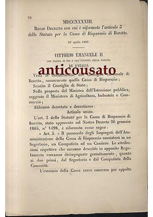 REGIO DECRETO STATUTO CASSA DI RISPARMIO BORETTO 26 APRILE 1866 ORIGINALE