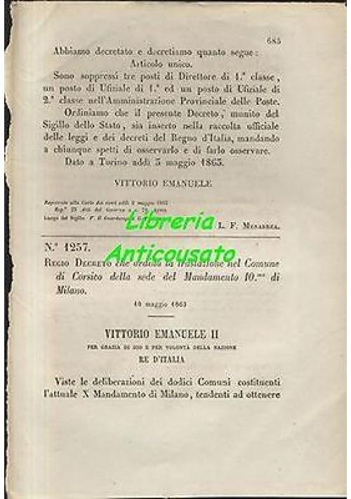 REGIO DECRETO TRASLAZIONE IN CORSICO 10mo MANDAMENTO MILANO 10 maggio  1863