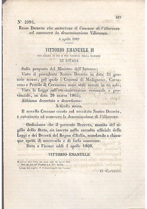 REGIO DECRETO  VILLARESCO NUOVA DENOMINAZIONE VILLAVESCO - 1869 ORIGINALE