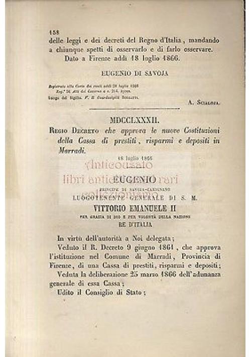 REGIO DECRETO cassa di prestiti risparmi e depositi di MARRADI 1866  ORIGINALE