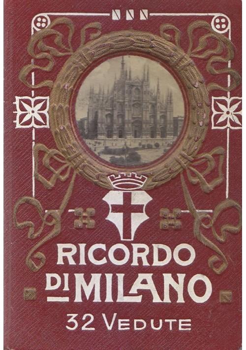 RICORDO DI MILANO 32 VEDUTE ORIGINALE ANNI '20 libretto cartoline fisarmonica