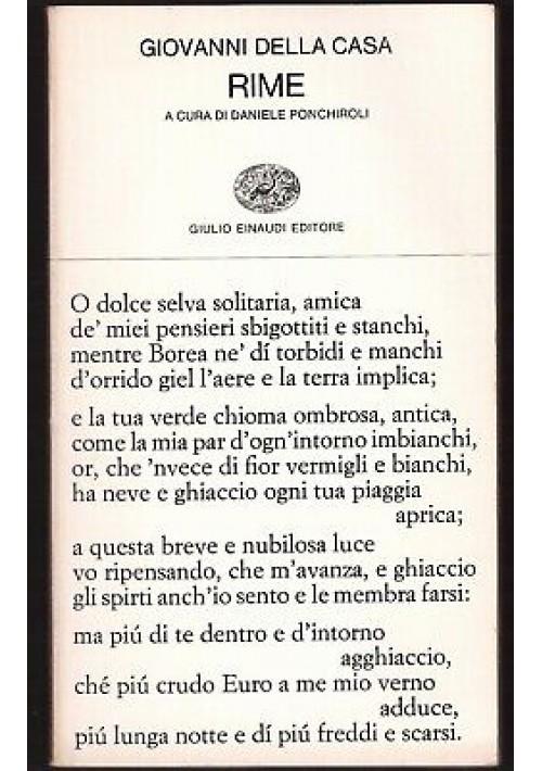 RIME di Giovanni Della Casa 1967 Einaudi collezioni di poesia II edizione