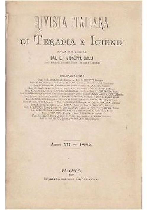 RIVISTA ITALIANA DI TERAPIA E IGIENE  anno VII 1887 Favari editore