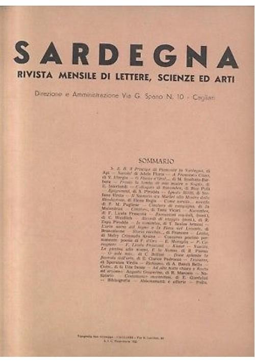 RIVISTA - SARDEGNA mensile di lettere scienze novembre 1934 RARO