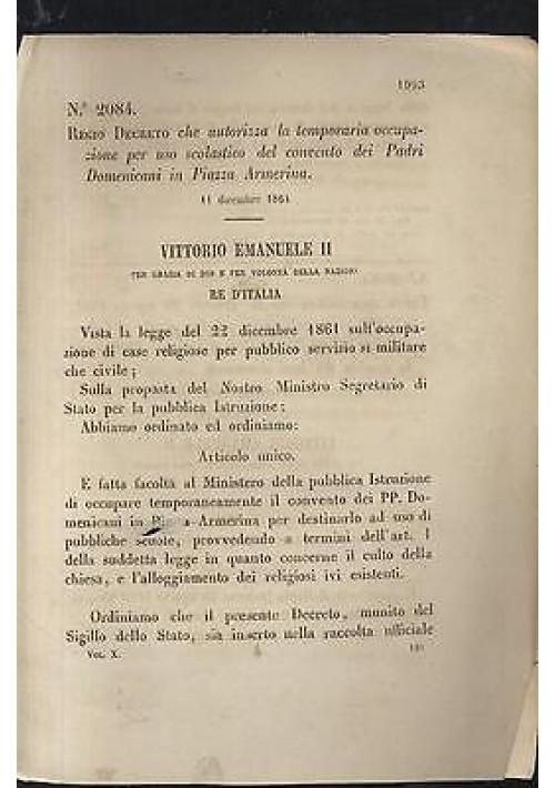 RegioDecreto 1864 TEMPORANEA OCCUPAZIONE USO SCOLASTICO CONVENTO PIAZZA ARMERIN