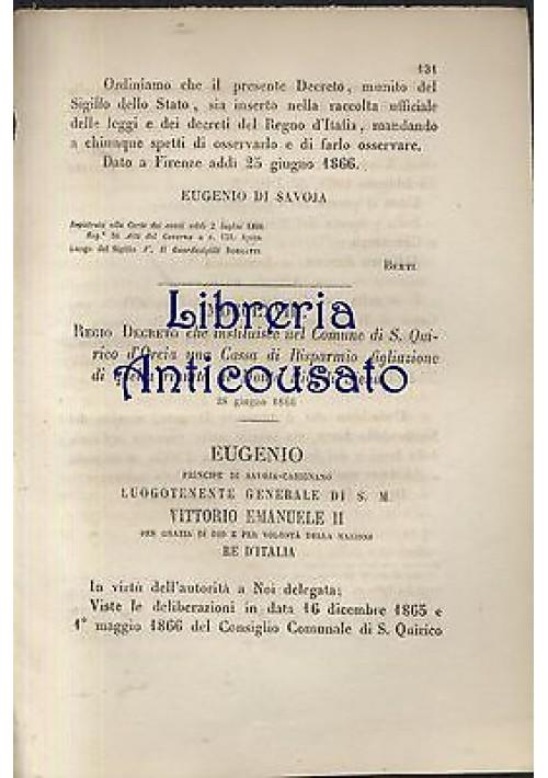 S. QUIRICO D'ORCIA - REGIO DECRETO - 1866 - CASSA DI RISPARMIO MONTE PIO SIENA