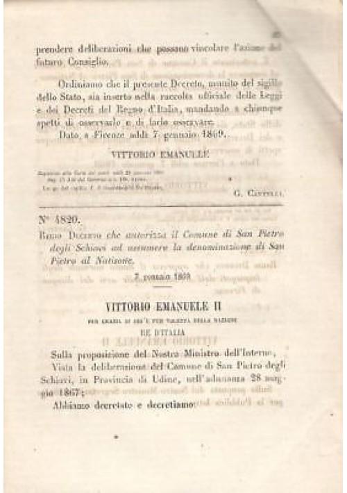 SAN PIETRO DEGLI SCHIAVI REGIO DECRETO 1869 UDINE SAN PIETRO AL NATISONE antico