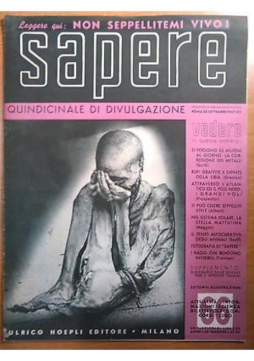 SAPERE 30 settembre 1937 n. 66 Hoepli quindicinale di divulgazione scientifica