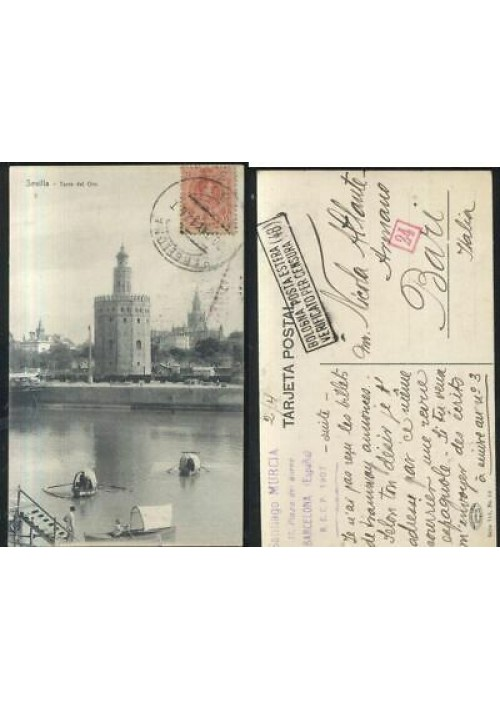 SEVILLA Torre del oro - cartolina viaggiata 1917 postcard tarjeta postal