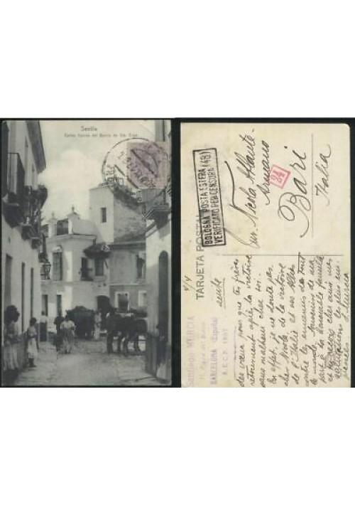 SEVILLA calles tipicas del barrio de Sia Cruz viaggiata 1917 tarjeta postal