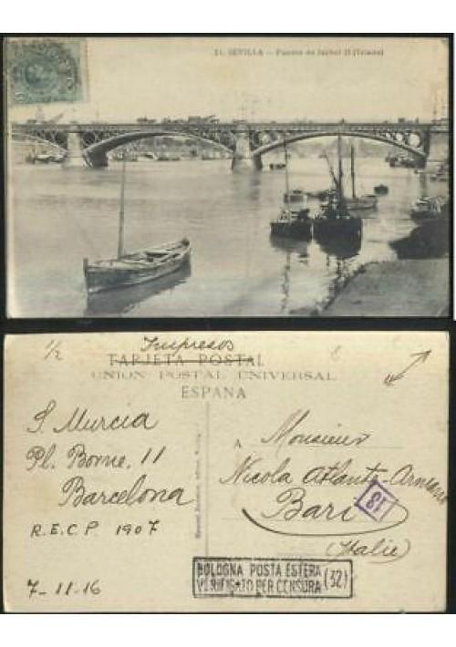 SEVILLA puente de Isabel II (Triana) viaggiata 1916 postcard tarjeta postal