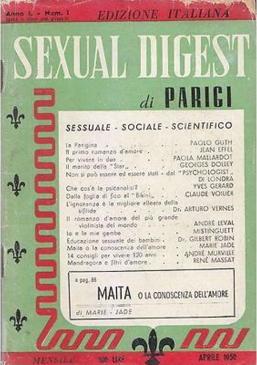 SEXUAL DIGEST DI PARIGI Anno I numero I edizione italiana Aprile 1950