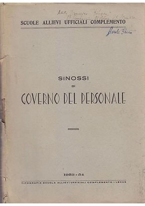 SINOSSI DI GOVERNO DEL PERSONALE 1953 - 54 Tipografia Scuola Allievi Ufficiali