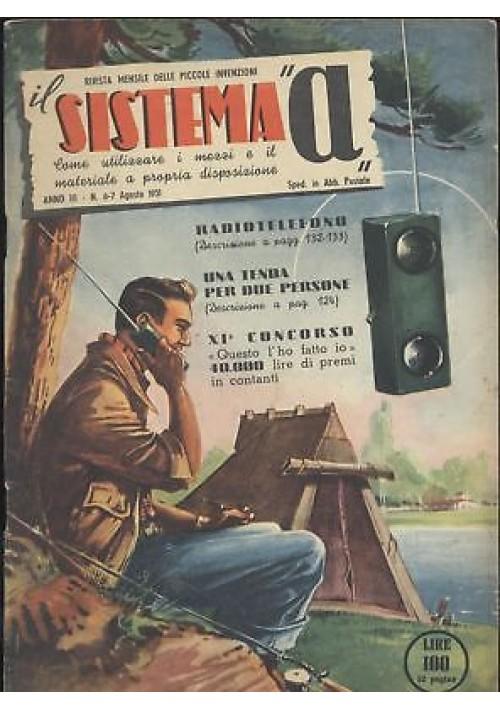SISTEMA A agosto 1951 anno III n 6 - 7 radiotelefono trasmettitore fonico