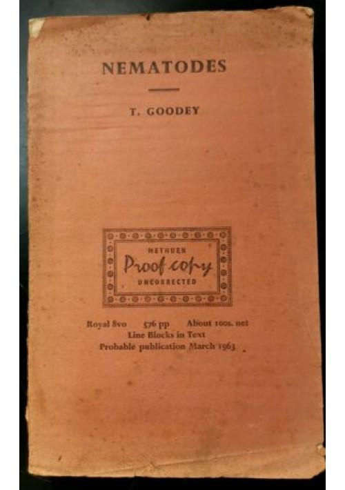 SOIL AND FRESHWATER NEMATODES di T Goodey proof copy bozza di stampa 1963 libro
