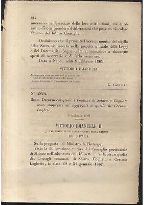 SOLARO COGLIATE soppressi - REGIO DECRETO - 1869 -  CERIANO LAGHETTO ORIGINALE