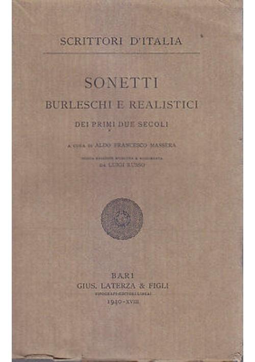 SONETTI BURLESCHI E REALISTICI DEI PRIMI DUE SECOLI 1940 Laterza