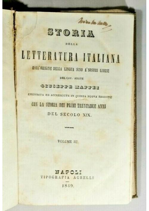 STORIA DELLA LETTERATURA ITALIANA volume 3 di Giuseppe Maffei 1849 libro antico