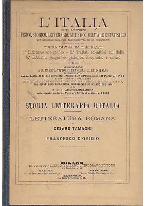 STORIA DELLA LETTERATURA ROMANA di Tamagni e D'Ovidio - Vallardi editore, 1874