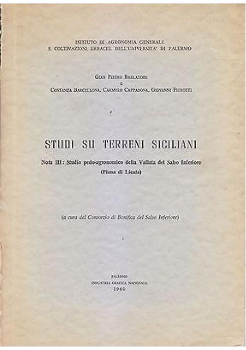 STUDI SUI TERRENI SICILIANI III di Gian Pietro Ballatore 1960 Industria Grafica