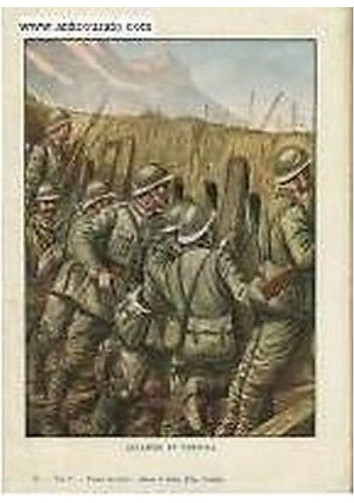 Stampa a colori  ALLARME IN TRINCEA prima guerra mondiale vintage