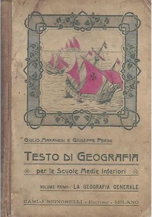 TESTO DI GEOGRAFIA PER LE SCUOLE MEDIE INFERIORI 2 volumi del 1920 di Giulio Maranesi e Giuseppe Perini