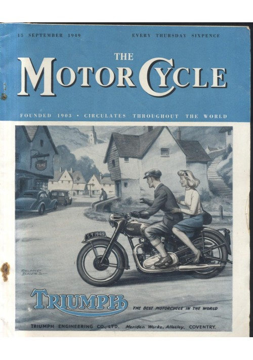 THE MOTORCYCLE 15 september 1949  rivista motociclette in inglese Triumph moto