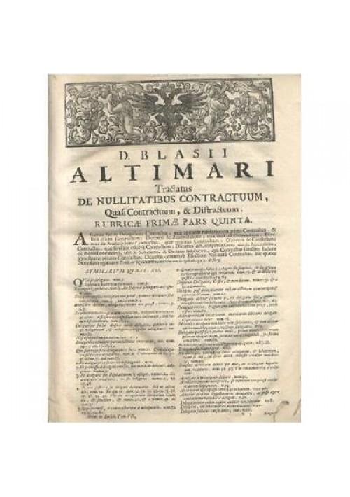 TRACTATUS DE NULLITATIBUS CONTRACTUM TOMO VII Blasii Altimari 1706 Balleonium *