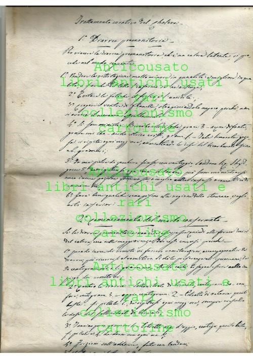TRATTAMENTO CURATIVO DEL COLERA manoscritto del 1867 cholera ANTICO ORIGINALE