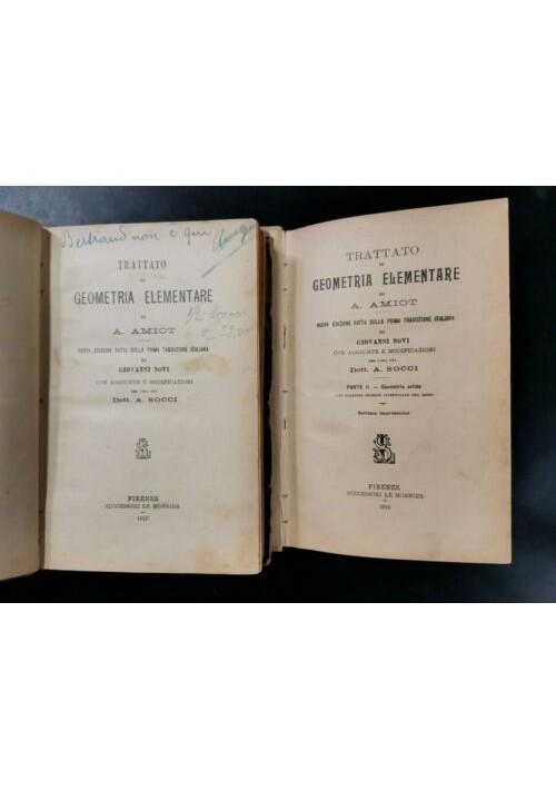 TRATTATO DI GEOMETRIA ELEMENTARE di Amiot 2 volumi 1910 Le Monnier libro vintage