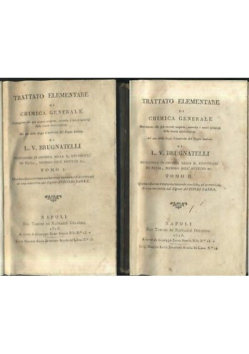 TRATTATO ELEMENTARE CHIMICA GENERALE 4 volumi Brugnatelli 1818 Raffaele Orlando