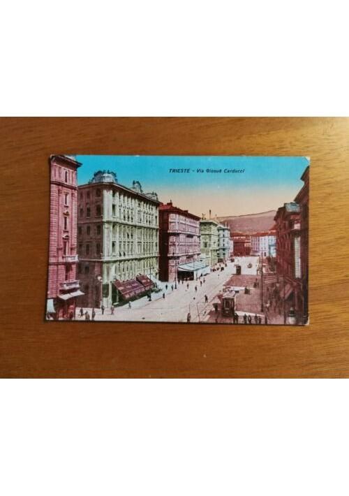 TRIESTE via Giosuè Carducci Cartolina Non Viaggiata Animata  formato piccolo