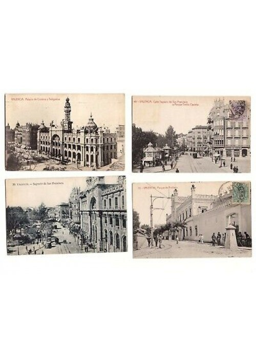 VALENCIA 4 cartoline tarjetas viaggiate 1916 1926 sagrario San Francisco parque