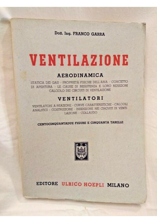 VENTILAZIONE di Franco Garra 1948 Hoepli aerodinamica Ventilatori Libro Manuale