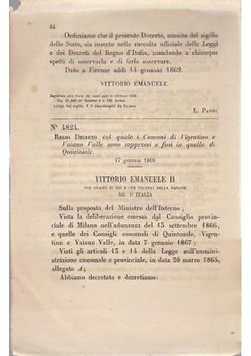 VIGENTINO VAIANO VALLE soppressi REGIO DECRETO 1869 QUINTOSOLE originale antico