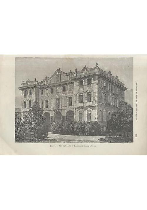 VILLA S A R DUCHESSA DI GENOVA A STRESA litografia 1902 stampa artistica antica