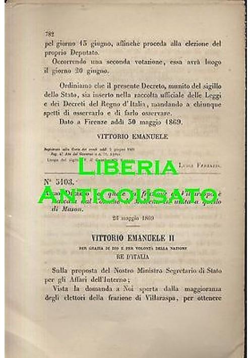 VILLARASPA STACCATA MOVENA UNITO MASON - REGIO DECRETO 1869 -  originale d'epoca