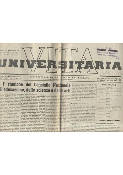 VITA UNIVERSITARIA 5 maggio 1939 quindicinale università italiane anno III n.15