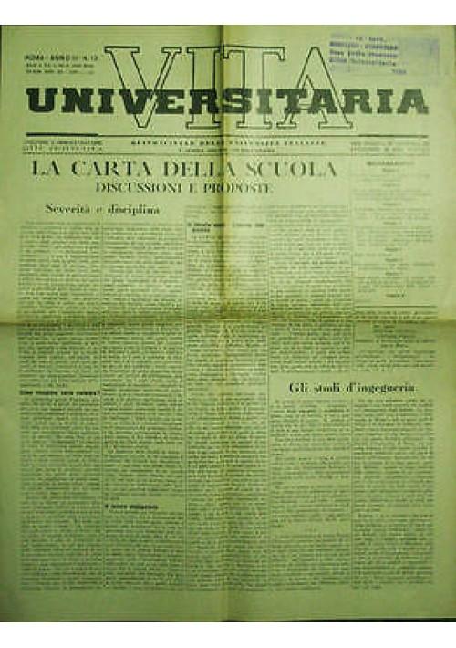 Vita Universitaria Quindicinale Università Italiane anno III n 13 fascismo 1939