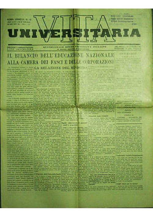 Vita Universitaria Quindicinale delle Università Anno III n.16 del 20 05 1939