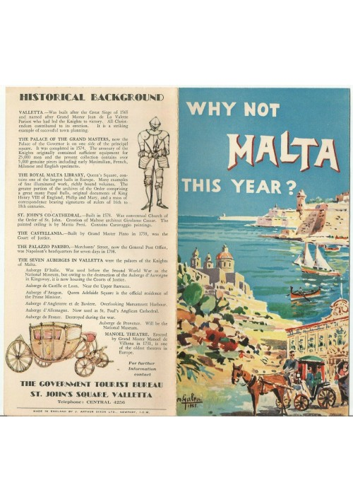 WHY NOT MALTA THIS YEAR  Depliant Brochure advertisement tourist turismo 1955