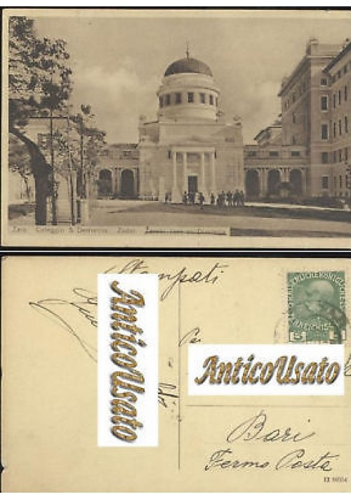 ZARA COLLEGIO SAN DEMETRIO cartolina VIAGGIATA PRIMO DECENNIO '900 - originale