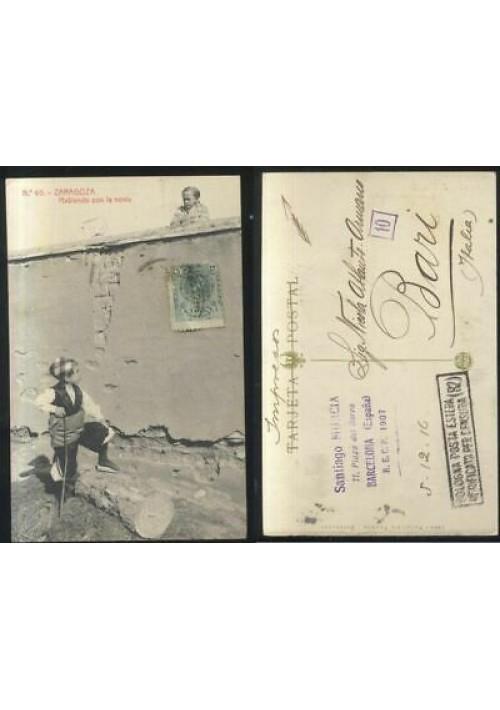 ZARAGOZA HABLANDO CON LA NOVIA  cartolina viaggiata 05/12/1916 tarjeta postal