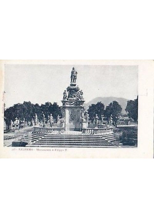 cartolina PALERMO IL MONUMENTO A FILIPPO V -  L. Sandron - originale d'epoca